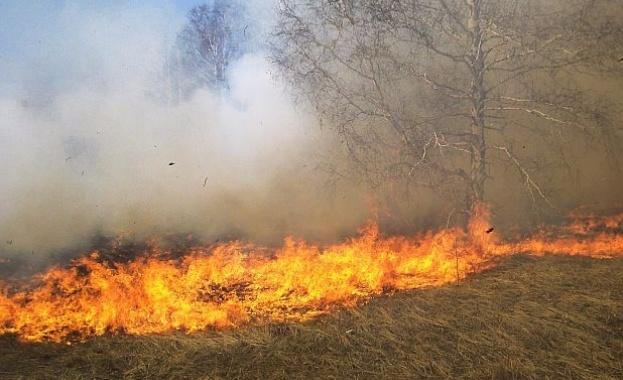 """Голям пожар бушува северно от """"Трите чучура"""" в Стара Загора"""