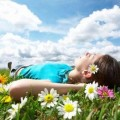 Момиче, трева, поле, Витамин D