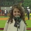 Крисия пее химна на стадиона преди мача Лудогорец - Валенсия