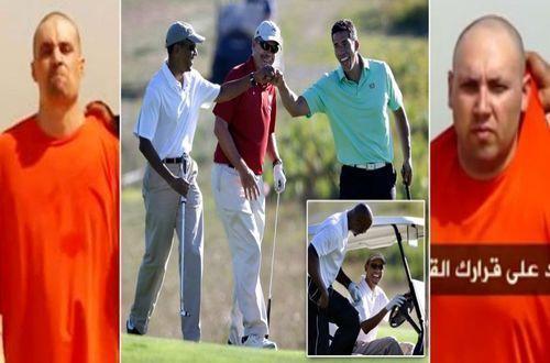 Барак Обама играе голф и се забавлява само часове след обезглавяването на америнаския репортер Джеймс Фоули